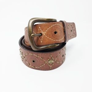 Fossil Leather Embellished Brown Tan Gold Belt